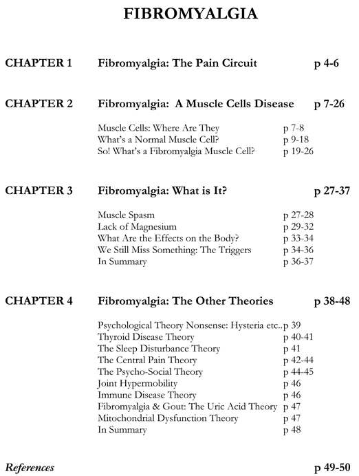 Index of the first Fibromyalgia Book